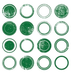 Green Ronded Grunge Stamp vector image