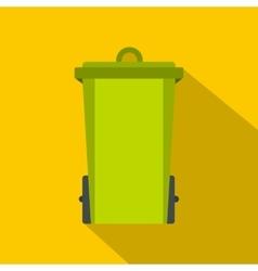 Green trash bin icon flat style vector