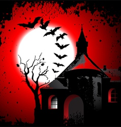 Halloween background with the scary house vector image vector image