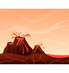 Landscape with volcano vector