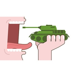 Man eating tank Destruction of military transport vector image vector image