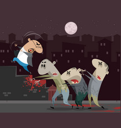 Man running away from zombie vector