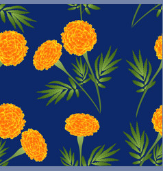 orange marigold on indigo blue background vector image vector image