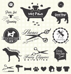 Pet grooming labels vector