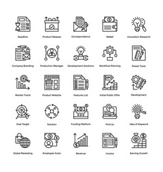 Project management line icons set 20 vector