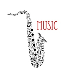 Saxophone with musical notes for music design vector