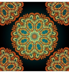 Seamless mandala over black background vitage vector