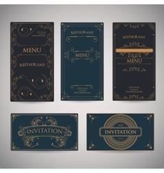 Set Of Vintage Luxury Greeting Restaurant Menu vector image