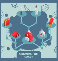 survival kit color isometric concept icons vector image
