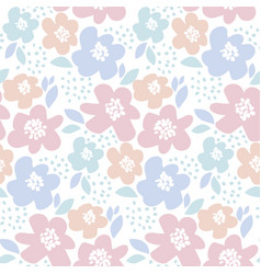 Tender color floral in retro 60s style abstract vector