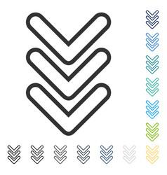 Triple pointer down icon vector