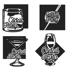 Vintage cocktail party emblems vector