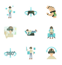 Vr icons set cartoon style vector