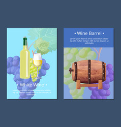 White wine and barrel posters vector