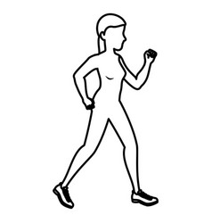 Woman running silhouette icon vector
