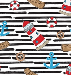 Nautical anchor and lighthouse seamless pattern vector