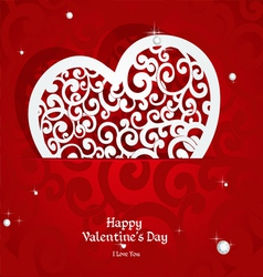 Laced with curls applique valentine card vector