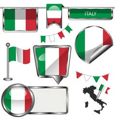 Glossy icons with italian flag vector
