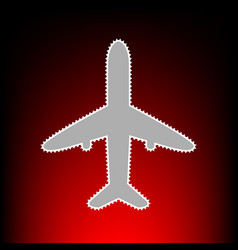 airplane sign  postage stamp or old vector image