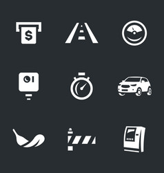 Set of toll road icons vector