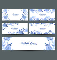 Monochrome collection of greeting cards with blue vector