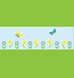 horizontal background with butterflies and flowers vector image