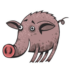 a happy cartoon pig covered in mud vector image