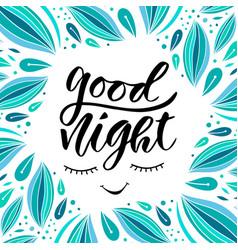 Good night card in calligraphy style handwritten vector