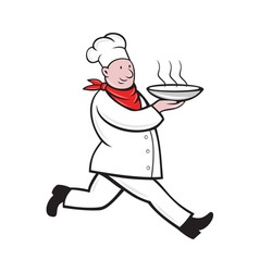 Chef cook running serving hot soup bowl vector