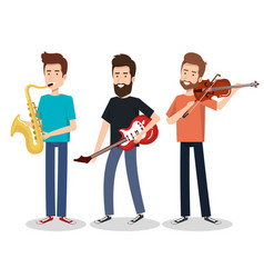 Musicians and musical instruments concert vector