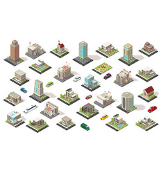 Isometric city elements collection vector