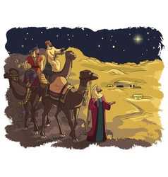 three wise men following the star of bethlehem vector image