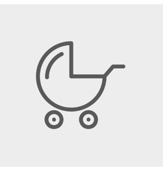 Baby stroller thin line icon vector
