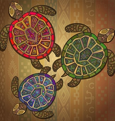 Background pattern with three turtles vector