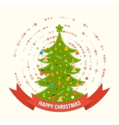 Green stylized christmas tree new year greeting vector