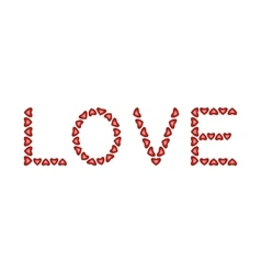 Word Love made from hearts vector image