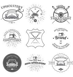 Auto upholstery vintage badges and labels vector