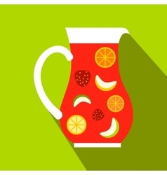 Jar and glass of fresh sangria icon flat style vector