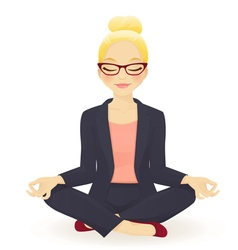 Young business woman in yoga lotus pose vector