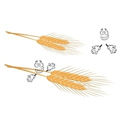 Awned ears of wheat cartoon character vector image