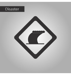 Black and white style icon tsunami sign vector