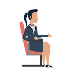 Business woman on office chair vector