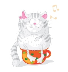 Cat on a chamber-pot characters cartoon vector