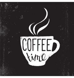 coffee cup with lettering vector image vector image