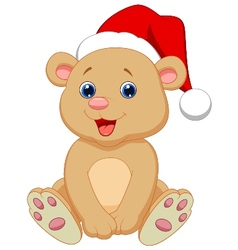 Cute baby bear cartoon sitting vector