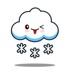 cute cloud snowflake kawaii face icon cartoon vector image