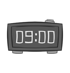 Digital alarm clock icon black monochrome style vector