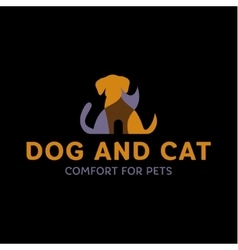 Dog and Cat with effect Overlay trend logo art vector image