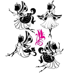 Fairy silhouettes vector
