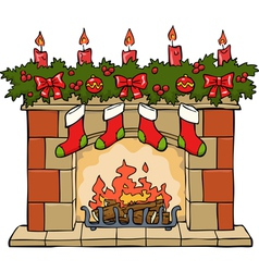 fireplace xmas vector image